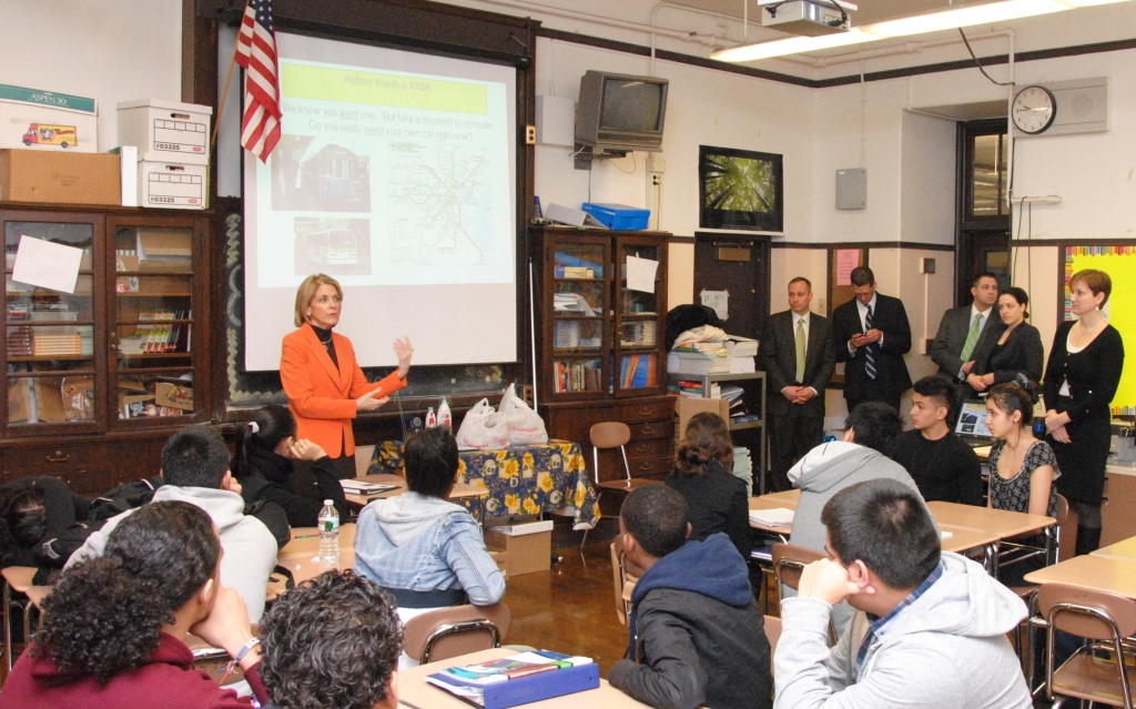 Massachusetts Attorney General Martha Coakley spoke to East Boston High School students as part of the M. Ellen Carpenter Financial Literacy Program, a joint program of the Boston Bar Association and the U.S. Bankruptcy Court.