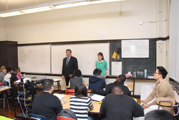 BBA President James D. Smeallie talks to 8th and 9th graders at Quincy Upper School during the Principal for A Day program on Tuesday, November 13th. The program allowed public and private sector leaders to better understand the improvements and remaining challenges in the Boston public school system.