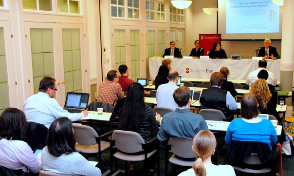 """Attorneys learn about the current laws and lifecycle of an asylum case at the CLE """"Asylum: Application Through Appeal."""""""