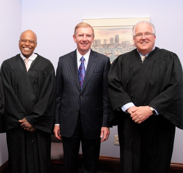 Chief Justice Charles Johnson (Boston Municipal Court), BBA President Elect Paul Dacier (EMC Corporation), and Judge David Donnelly (Brighton District Court) took part in the Brighton District Court's annual Law Day Celebration.