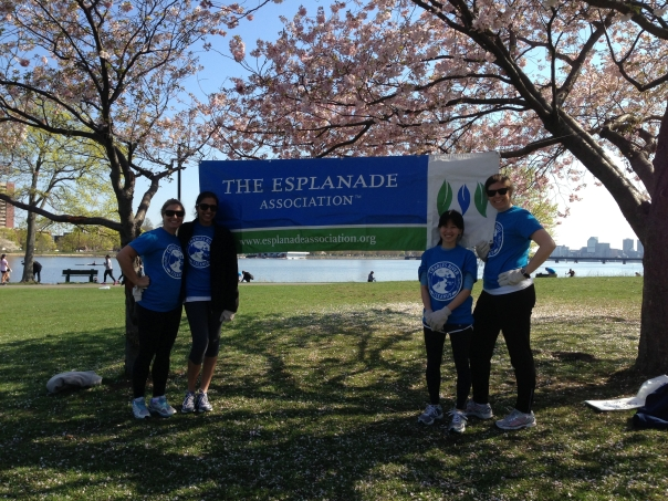Volunteers Sara Farnum (Massachusetts Office of the Attorney General), Smita Deshmukh (Sullivan & Worcester LLP), Stephanie Pan, and Margaret Caulfield (Partners HealthCare) helped remove litter and debris from the banks of the Charles River as part of the 14th annual Charles River Clean Up on April 27th.