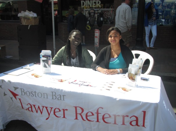 BBA staff, Gaciru Matathia, and Solana Goss set up shop at the Mayfair event, displaying materials on how to get in touch with the BBA Lawyer Referral Service.