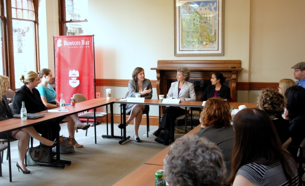Honorable Maureen Monks (Middlesex Probate and Family Court), Manisha Bhatt (Greater Boston Legal Services) and Susan Finegan (Mintz, Levin, Cohn, Ferris, Glovsky and Popeo, P.C.) discussed how their commitment to pro bono and public service work has shaped their careers.