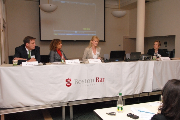 Panelists Diane L. Rosenfeld (Harvard Law School), Sgt. Detective Donna Gavin, (Boston Police Department Human Trafficking Unit), and Julie Dahlstrom, (Director of the Human Trafficking Clinic at Boston University School of Law; Immigration Legal Assistance Program of Lutheran Social Services of New England) concluded the program with an on-the-ground account of responding to human trafficking.