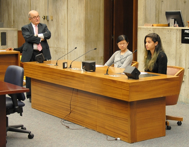 Cynthia Peguero, a rising senior at Jeremiah E. Burke High School and intern at Shaevel & Krems, presented the position of the Association of Main Street Businesses to the City Council Committee.