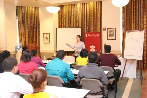 Melissa O'Berg (Rocket Software, Inc) taught the Financial Literacy module on using credit and credits cards to the 58 Summer Jobs students.