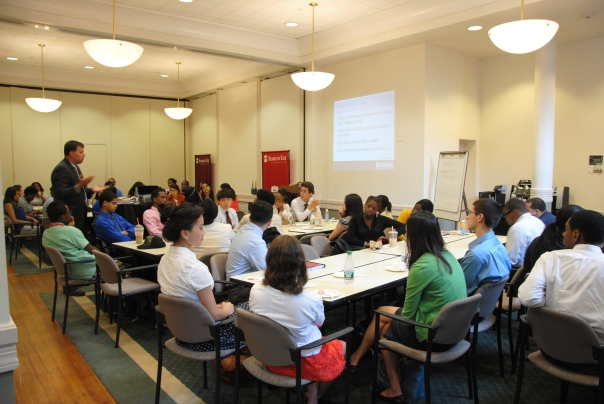 Dan Forster (Simmons College) discusses the financial aid process with the Summer Jobs students.