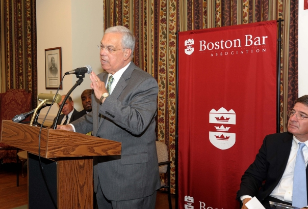 Mayor Menino addressed the crowd of students, their families, and employers about the importance of this summer jobs experience.