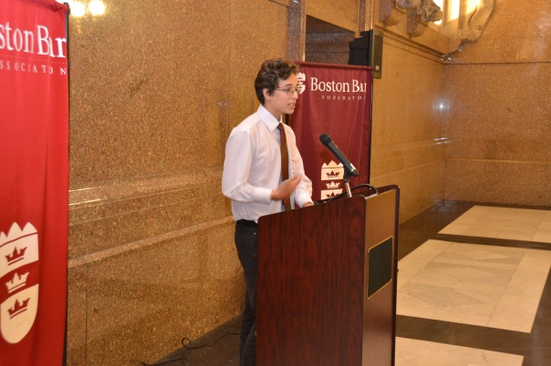 Summer Jobs Student David Lozano spoke to the audience about his internship at Nixon Peabody at the Summer Jobs Graduation last Thursday.