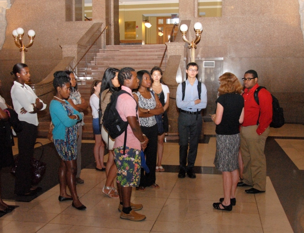 Students took a tour of the John Adams Courthouse.