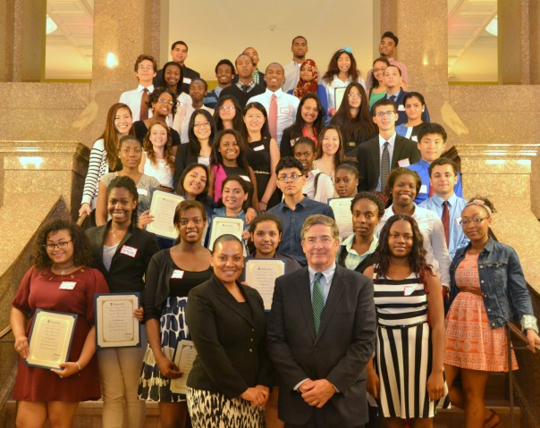 The 2013 Summer Jobs students showed off their certificates while posing with keynote speaker Rachael Rollins (MBTA) and BBA President J.D. Smeallie (Holland & Knight).