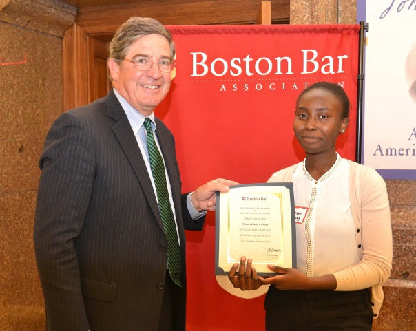 Maaza Fadel El Said, a rising junior at Boston Latin Academy and intern at Foley Hoag, accepted her certificate from BBA President J.D. Smeallie.