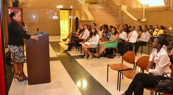 Keynote speaker Rachael Rollins (MBTA) addressed the group of Summer Jobs students and gave them advice on how to succeed in their future professional endeavors.