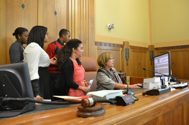 Judge Joan Feeney showed the Summer Jobs students how the court's computer system works during their visit to the U.S. Bankruptcy Court.