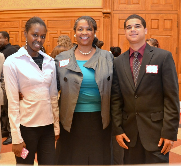Amadou Barry and Miguel Rodriguez Figueroa pose with BBA Council member Sheila Hubbard, Executive Director of the Volunteer Lawyers Project). Amadou and Miguel interned at the Volunteer Lawyers Project this summer through the BBA Summer Jobs Program.