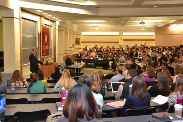 BBA President Paul Dacier spoke to first year law students at the Boston College Law School Legal Ethics Orientation.