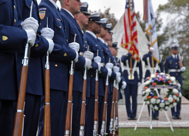 WASHINGTON, D.C. -  The Coast Guard Honor Guard stands in formation before the beginning of the Coast Guard's Veteran's Day wreathlaying ceremony at Arlington National Cemetary.  USCG photo by PA1 Adam Eggers