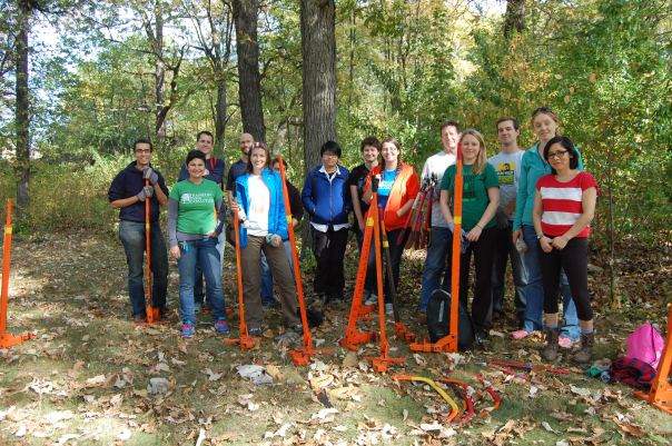 A group of the volunteers who helped clean up Franklin Park on Saturday morning.