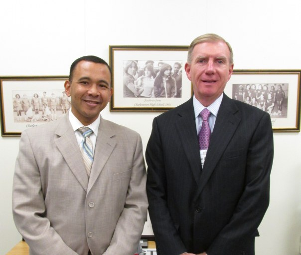 BBA President Paul T. Dacier poses with Headmaster William Thomas (Charlestown High School).