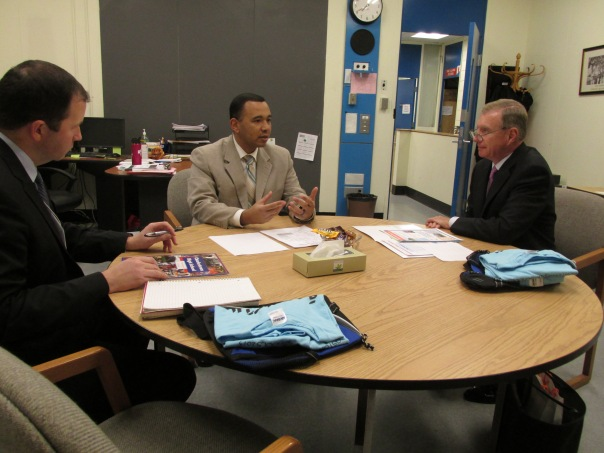 Paul T. Dacier met with Headmaster William Thomas (Charlestown High School) and John Hanlon (Boston Scholar Athletes)