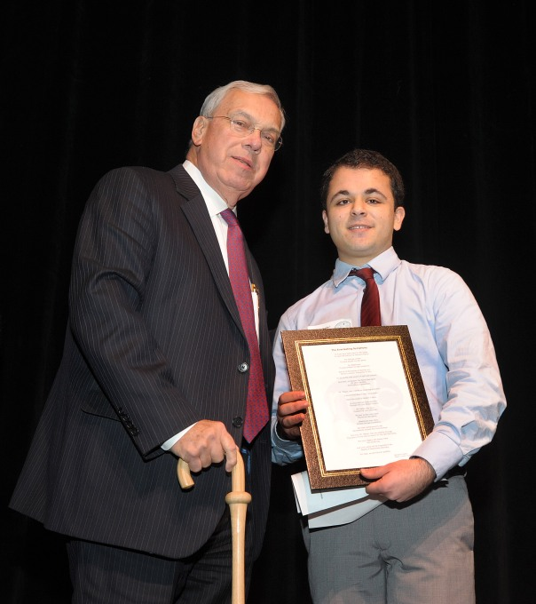 Mayor's Youth Council Representative and former Summer Jobs Student Benjamin Haideri introduced Mayor Thomas Menino at the 20th Anniversary of the Mayor's Youth Council Celebration.