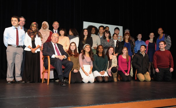 John Tobin (Northeastern University), BBA President Paul Dacier, and Mayor Thomas Menino pose with current Mayor's Youth Council representatives.