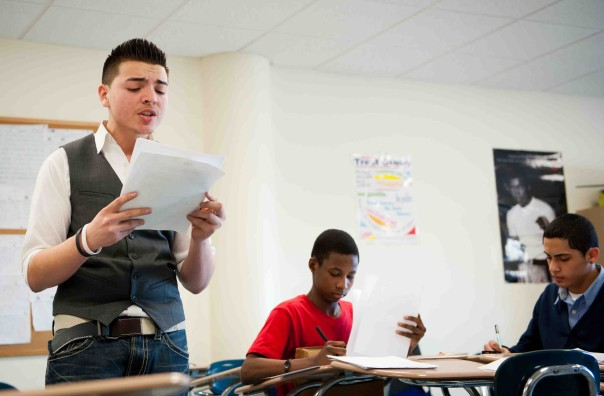 Students practice preparing & presenting their aurguments. Photo provided by Boston Debate League.