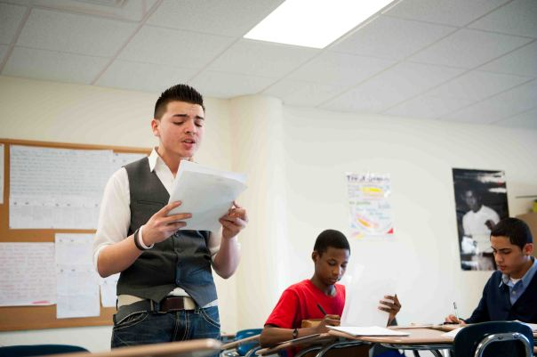 Volunteers can support the Boston public schools by serving as judges at monthly tournaments through the Boston Debate League. Photo courtesy of Boston Debate League.