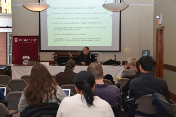 Brian Flynn (GBLS) taught attorneys the basics of unemployment law to prepare them for pro bono cases.