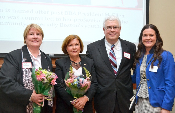 : Program Co-Chairs Janet Bostwick (Janet Boswtick, P.C.), Judge Joan Feeney (U.S. Bankruptcy Court), and Mackenzie Shea (K&L Gates LLP) with Chief Judge Frank Bailey (U.S. Bankruptcy Court).