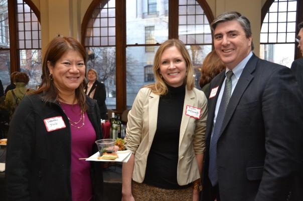 Volunteers Deborah Dong, Kristin McDonough (Riemer & Braunstein LLP), and John Loughnane (Nutter McClennen & Fish LLP).