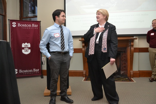 Ben Haideri, a senior at Boston Latin Academy and 2013 Summer Jobs Student, shared his experience in the M. Ellen Carpenter Financial Literacy Program last summer, answered Janet Bostwick's questions about the Program at the 10th Anniversary Celebration.