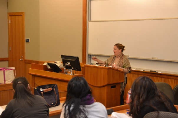 Suffolk Law students listen in as Denise Fitzgerald, Manager of Legal Research Services at the Suffolk County Probate and Family Court, shares insight into the role of law student interns in the court.