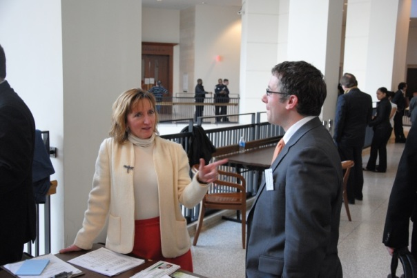 At Boston Housing Court, Lawyer for the Day Program volunteers Joanna Allison of the Volunteer Lawyers Project and BBA Real Estate Public Service Committee and Chris Saccardi of The Law Office of Christopher T. Saccardi.