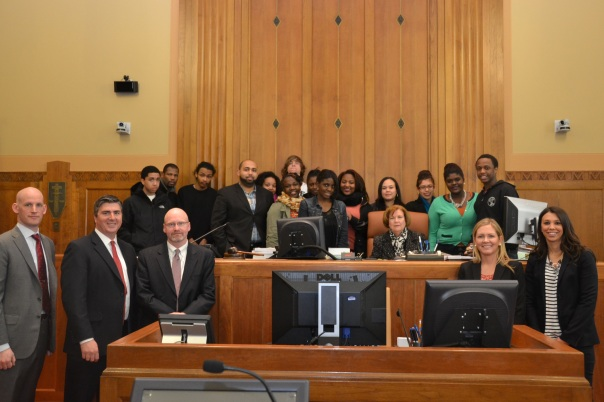 Seniors for New Mission High School in Hyde Park had the opportunity to visit the Boston Bankruptcy Court, listen to a mock meeting of creditors and hearing, and talk to the attorneys and the Judge after the session.