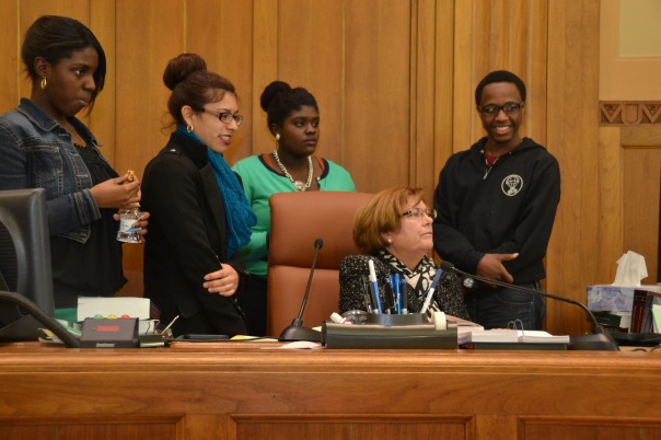 Judge Joan Feeney let students from New Mission High School past the bench and answered questions about how the Court's computer system works during their trip to the Boston Bankruptcy Court.