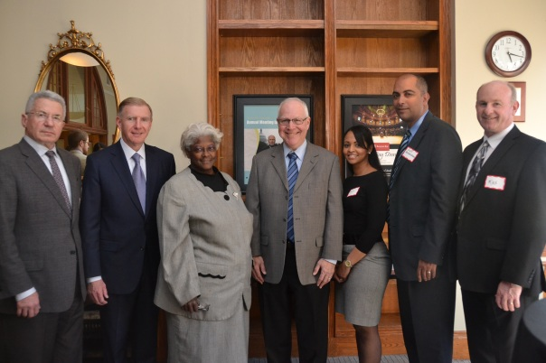 Andy Cohn (WilmerHale), BBA President Paul T. Dacier (EMC Corporation), Sharon Jones (Law Office of Sharon V.  Jones), First Justice Jeffrey Winik (Boston Housing Court), Mike Neville (Boston Housing Court), Alex Valderrama(Boston Housing Court), and Catarina Andrade (Boston Housing Court)