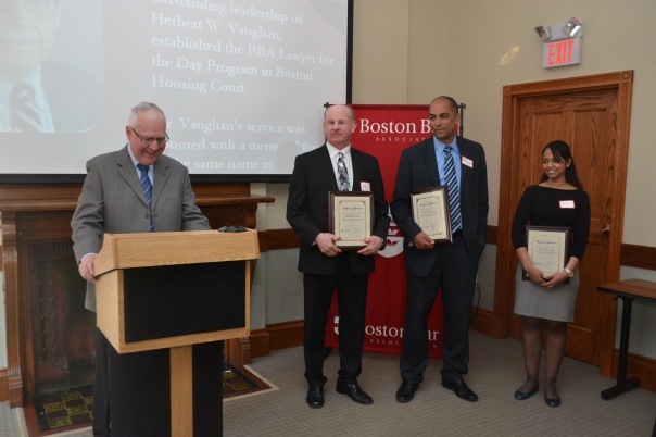 First Justice Jeffrey Winik (Boston Housing Court) recognized Mike Neville, Chief Housing Specialist, Alex Valderrama, Assistant Chief Housing Specialist, and Catarina Andrade, Housing Specialist, for their dedication to ensuring that landlords and tenants have access to justice in the Boston Housing Court.