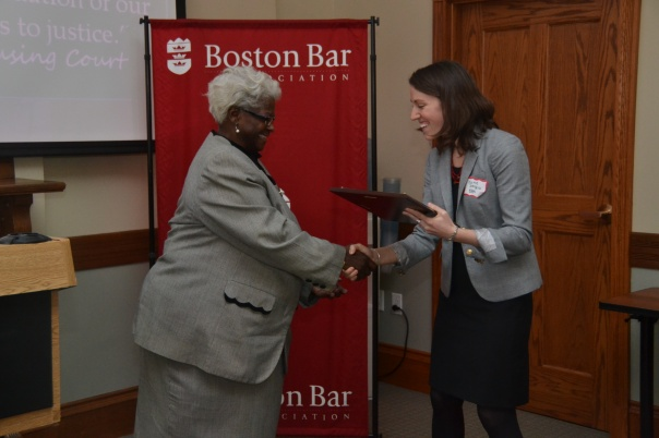 Katie D'Angelo (BBA) presented volunteer Sharon Jones (Law Office of Sharon V. Jones) with a volunteer appreciation award for her unparalleled dedicated to the Lawyer for the Day Program.  Sharon has volunteered at the Boston Housing Court almost every Thursday for the past 10 years, and when the Program expanded to include Monday Landlord Advice Day, Sharon immediately volunteered and has staffed that advice day more than any other lawyer.