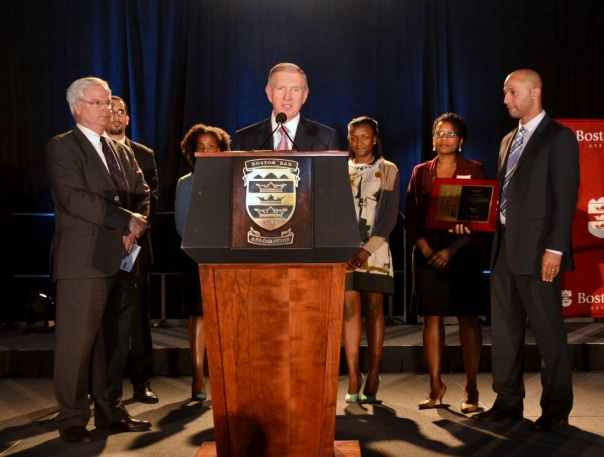 BBA President Paul T. Dacier presented the Boston Private Industry Council Executive Director Neil Sullivan, School-to-Career and Employer Engagement Director Josh Bruno, and several Career Specialists with an award for their continued collaboration with BBA on the Summer Jobs Program and their work to help Boston Public High School Students find jobs and transition into the workforce