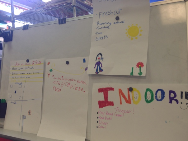 In an exercise to demonstrate the importance of voting, students held a mock election on whether to have recess indoors or outside. As you can imagine, this was a very contentious issue for 2nd graders -- here are some of the posters by the Josiah Quincy School students advocating where they should have recess.