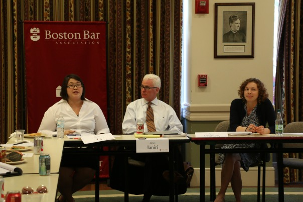 Persis Yu, National Consumer Law Center, James Ianiri, Ianiri Law LLC, and Renay Franel, Committee for Public Counsel Services-Somerville, spoke to atendees about the impact of criminal cases and DCF records on job applications.