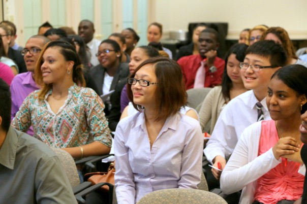 Students listen carefully to the tips on how to make the most of their summer internships.