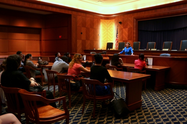 Barbara Berenson, a senior attorney at the Supreme Judicial Court, gave the students a tour of the building and provided an overview of the Massachusetts legal system.