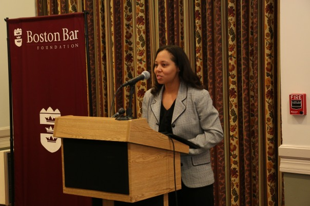 Keynote speaker Doreen Rachal, the president of the Massachusetts Black Lawyers Association, told the students about her own career path and encouraged the students to take advantage of this opportunity to gain professional experience.