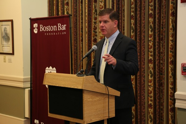 Mayor Marty Walsh emphasized the students' unique opportunity to learn about the legal field and encourages the students to take full advantage of this experience.