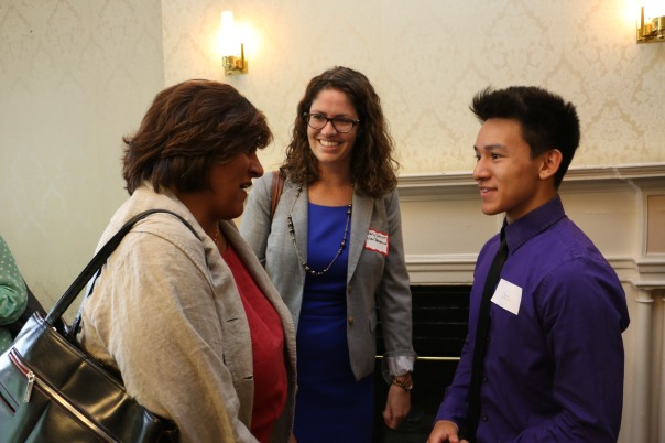 Emily Schnure (Nixon Peabody) introduced BBA Council Member Navjeet Bal (Nixon Peabody)to their Summer Jobs Student Thomas Vu, who just graduated from Boston Latin Academy, at the Kickoff Event.