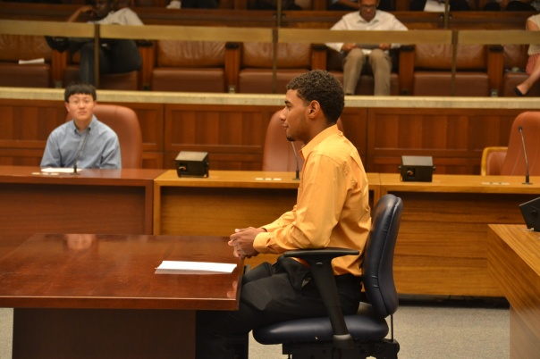 Jose Maria, who is interning at Edwards Wildman Palmer LLP, presented arguments against the proposed curfew on behalf of the Boston Teen Council.