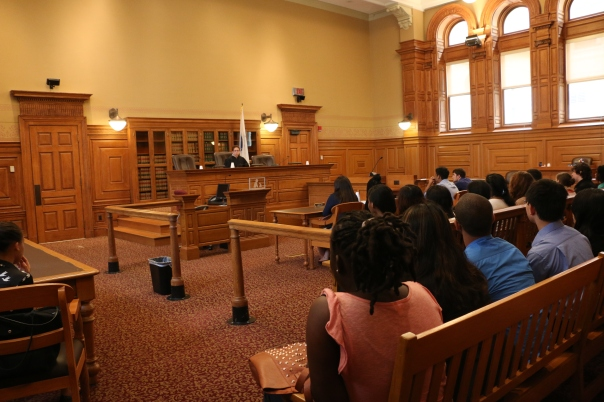Justice Cynthia Cohen spoke with the students about her role as an associate justice on the Massachusetts Appeals Court and her career path.