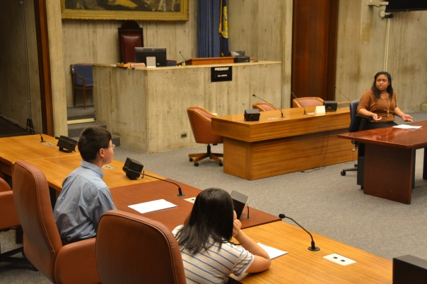 Rusheika Gordan, who is interning at Pierce Atwood LLP, responded to questions from the City Council members after presenting arguments against the law on behalf of the Neighborhood Merchants Association.